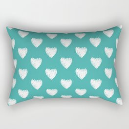 Pretty white love hearts on Teal Rectangular Pillow