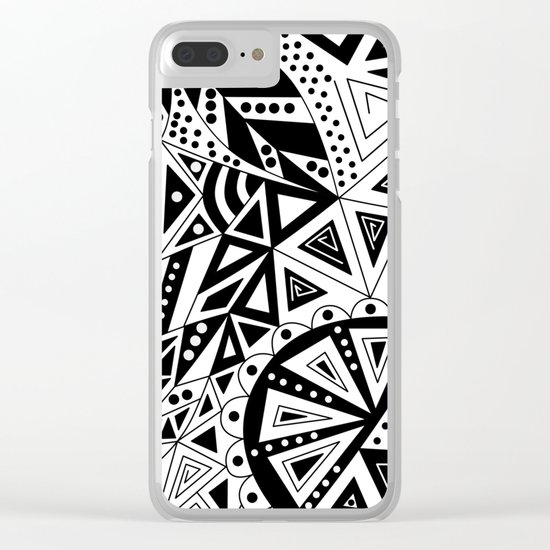 Black and white abstract pattern. Clear iPhone Case