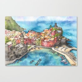 Cinque Terre ink & watercolor illustration Canvas Print