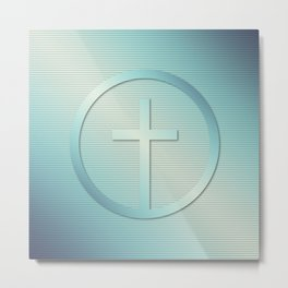 Retro Cross Emblem Graphic Metal Print