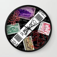 puerto rico Wall Clocks featuring Welcome to Puerto Rico by Barney Ortiz
