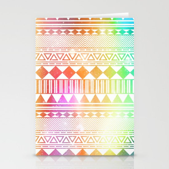 rainbow galaxy navajo tribal pattern Stationery Cards