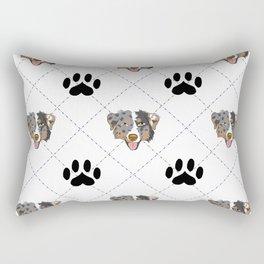 Australian Shepherd Paw Print Pattern Rectangular Pillow