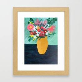 Bouquet in Golden Pot Framed Art Print