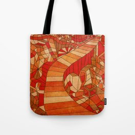 Path in brown and orange 3d landscape Tote Bag