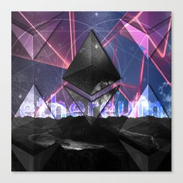 Ethereum Moon and Stars landscape Canvas Print