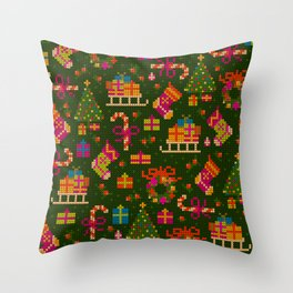 christmas x stitch pattern for the holiday mood Throw Pillow