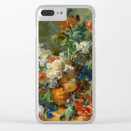 """Jan van Huysum """"Still Life with Flowers"""" Clear iPhone Case"""