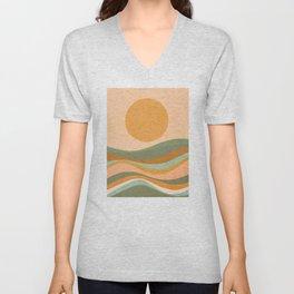Rainbow Waves Landscape Unisex V-Neck