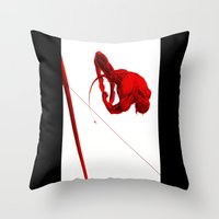 daredevil Throw Pillows featuring Daredevil Red by Birdskull Studios