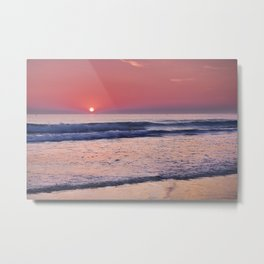 Barrosa Beach Waves At Sunset. Cadiz Metal Print