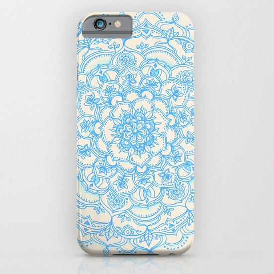 Pale Blue Pencil Pattern - hand drawn lace mandala iPhone & iPod Case