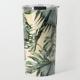Palm Leaves Classic Linen Travel Mug