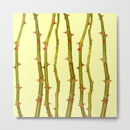 THORN BUSH CANES ABSTRACT IN YELLOW ART Metal Print