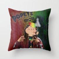 popeye Throw Pillows featuring POPEYE THE SAILOR MON - 018 by Lazy Bones Studios