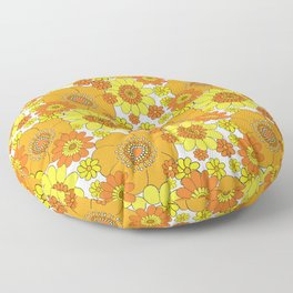 Pushing daisies orange and yellow Floor Pillow