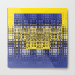 yellow blue dots worl Metal Print