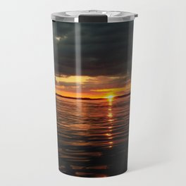 Above sea level, dramatic sunset over the ocean Travel Mug