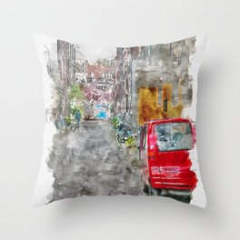 Aquarelle sketch art. Typical narrow street in Amsterdam, Netherlands Throw Pillow