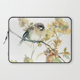 Sparrow and Dry Plants, fall foliage bird art bird design old fashion floral design Laptop Sleeve