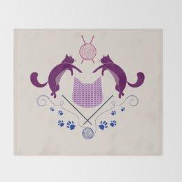 Cats Knitting Demask - Digital Art Throw Blanket