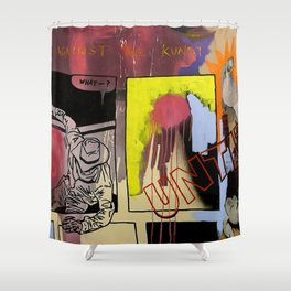 kicking against the kunst Shower Curtain