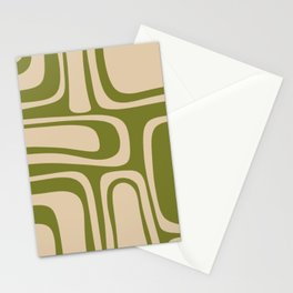 Palm Springs - Midcentury Modern Retro Pattern in Mid Mod Beige and Olive Green Stationery Cards