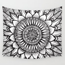 Sunflower Mandala - Black and White Wall Tapestry
