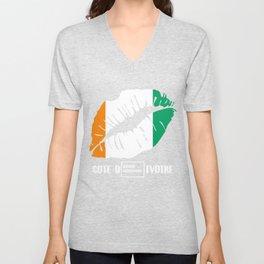CIV Cote DIvoire Kiss Lips T-Shirt Unisex V-Neck