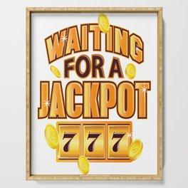 Gambler Waiting for a Jackpot 777 Gambling Fun Serving Tray