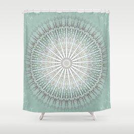 Mint Taupe Mandala Shower Curtain