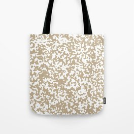 Small Spots - White and Khaki Brown Tote Bag