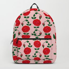 Red roses forma blue lady pattern Backpack