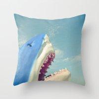 shark Throw Pillows featuring Shark! by Cassia Beck