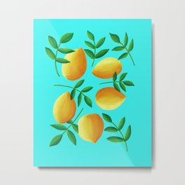 Lemons on Teal Metal Print