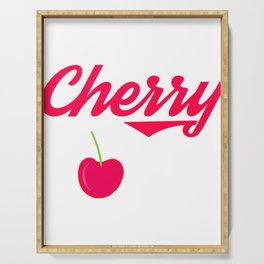 "A Bombing Tee For Bombers Saying ""Cherry Bomb"" T-shirt Design Cherry Fruit Red Dessert Foods Eat Serving Tray"