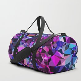 geometric triangle polygon pattern abstract in pink blue black Duffle Bag