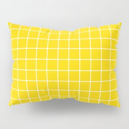 School bus yellow - yellow color -  White Lines Grid Pattern Pillow Sham