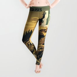 Vintage poster - Acadia National Park Leggings