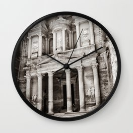 Camels at Petra | Black and White Stunning Stone Monument Hidden Lost City Treasury Carved Cliff Wall Clock