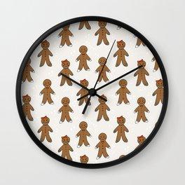 Gingerbread man cute cookies pattern gifts seasonal winter baking tradition Wall Clock