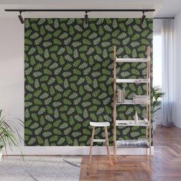 Fern Pattern - green on black Wall Mural