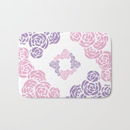 Purple and Pink Roses Doodle Art Bath Mat
