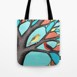 scarlet tanagers in the stained glass tree Tote Bag