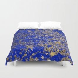 Royal Blue and Gold Patina Design Duvet Cover