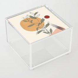 Minimal Line Young Leaves Acrylic Box