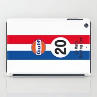 steve mcqueen iPad Cases featuring Steve McQueen - Le Mans - Racing Car by Vintage Deco Print Posters