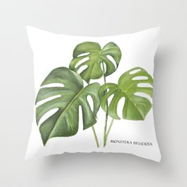 Monstera deliciosa 3 Leaves Throw Pillow