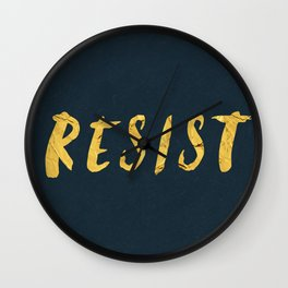RESIST 6.0 - Freedom Gold on Navy #resistance Wall Clock