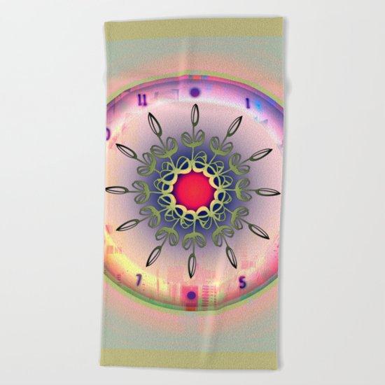 Spring Time - Floral Clock Beach Towel
